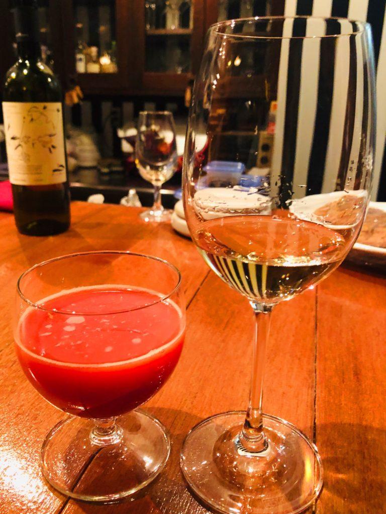 白ワインとブラッドオレンジジュース