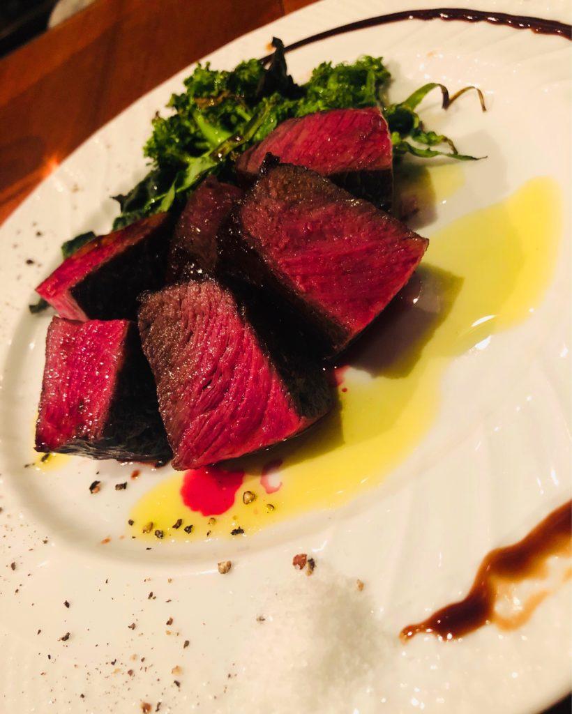 鹿児島県産牛ランプ肉のローストとコントルノ